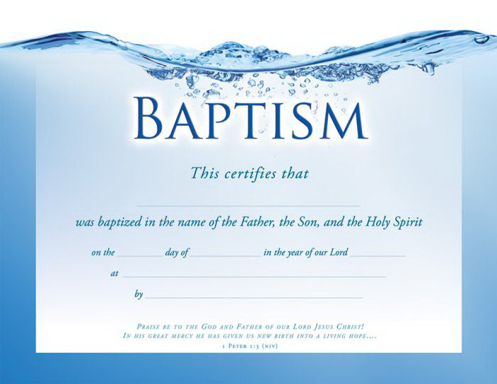 Certificate-Baptism (1 Peter 1:3) (Foil Embossed  Premium Stock) (Pack Of 6)