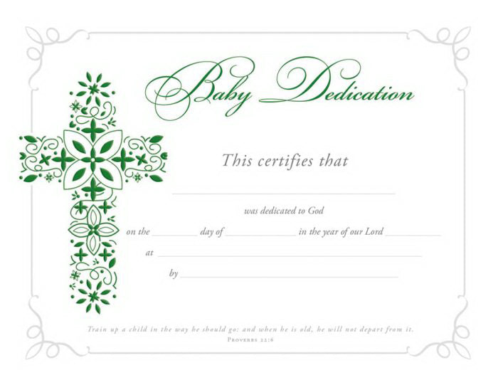 Certificate-Baby Dedication (Proverbs 22:6) (Foil Embossed  Premium Stock) (Pack Of 6)