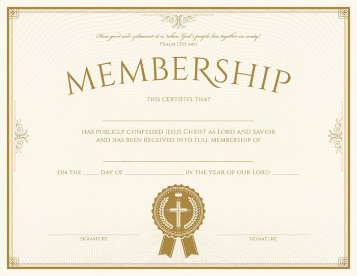 Certificate-Membership (Psalms 133:1) (Foil Embossed  Premium Stock) (Pack Of 6)