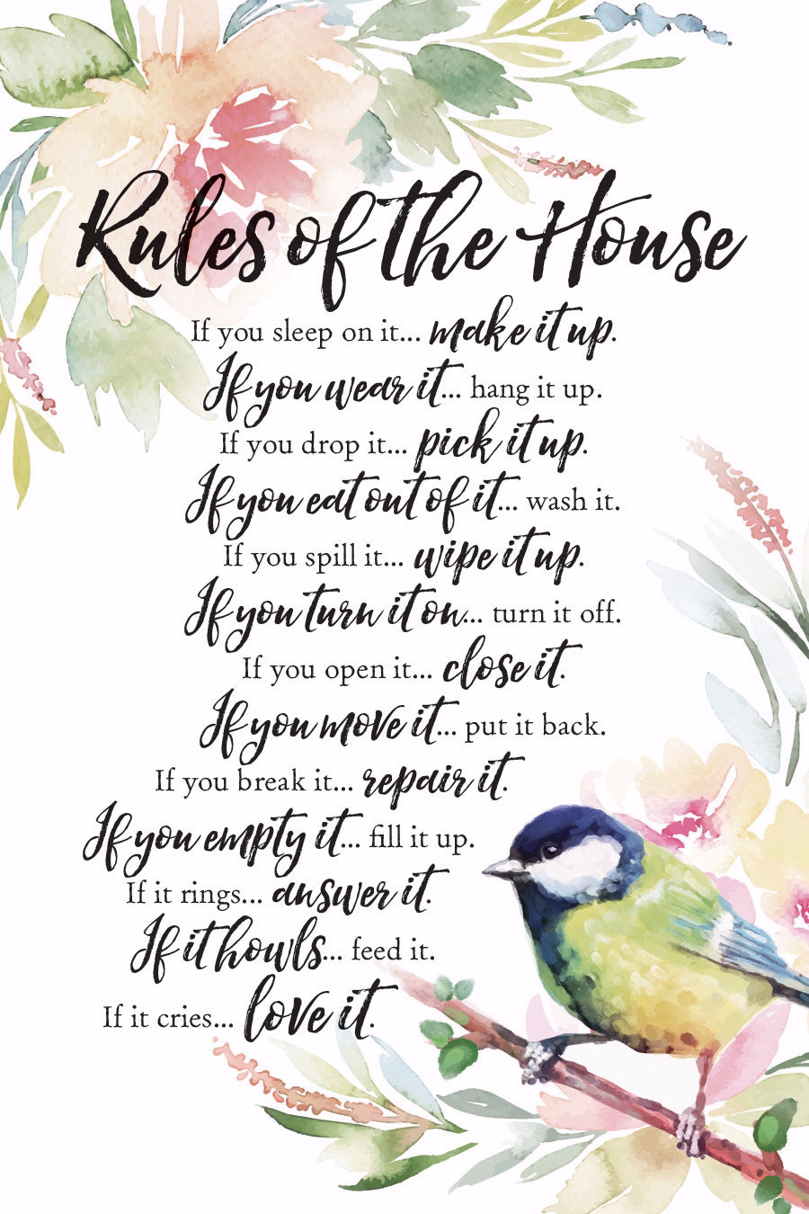 Plaque-Woodland Grace-Rules Of The House (6 x 9)