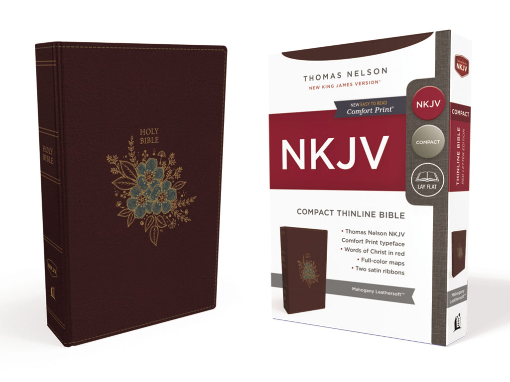 NKJV Thinline Bible-Compact (Comfort Print)-Burgundy Leathersoft