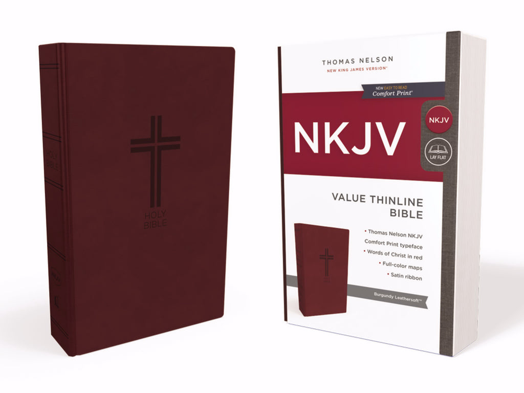 NKJV Thinline Bible (Comfort Print)-Burgundy Leathersoft