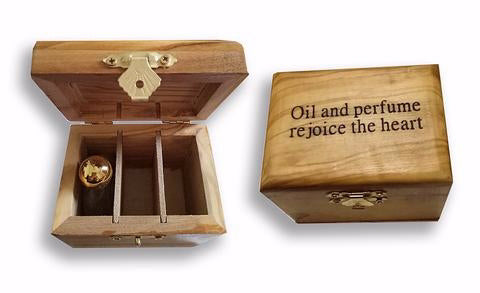 Anointing Oil-Rejoice The Heart In Olivewood Box