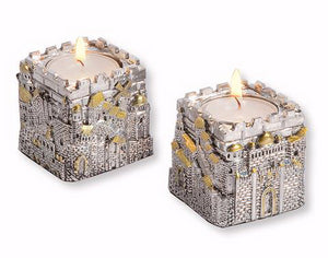 Candleholder-Jerusalem City Cubic-Silver-Plated Polyresin (Pack Of 2)