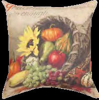 "Pillow-Pumpkins And Cornucopia (18"" x 18"")"