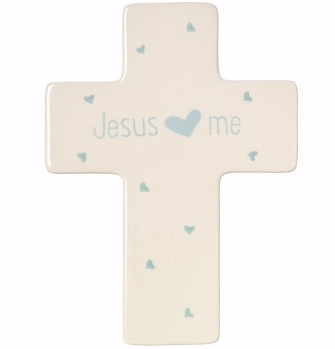 "Cross-Jesus Loves Me-Boy (Table Or Wall) (7.5"")"