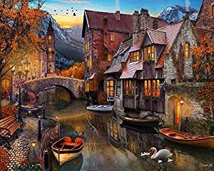Jigsaw Puzzle-Autumn Canal (1000 Pieces)