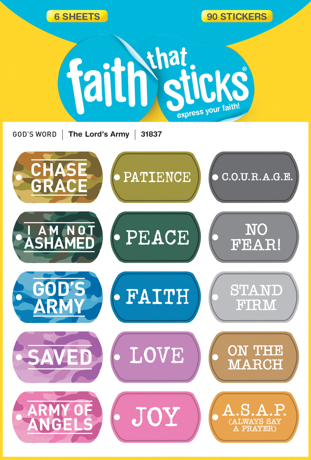 Sticker-The Lord's Army (6 Sheets) (Faith That Sticks)
