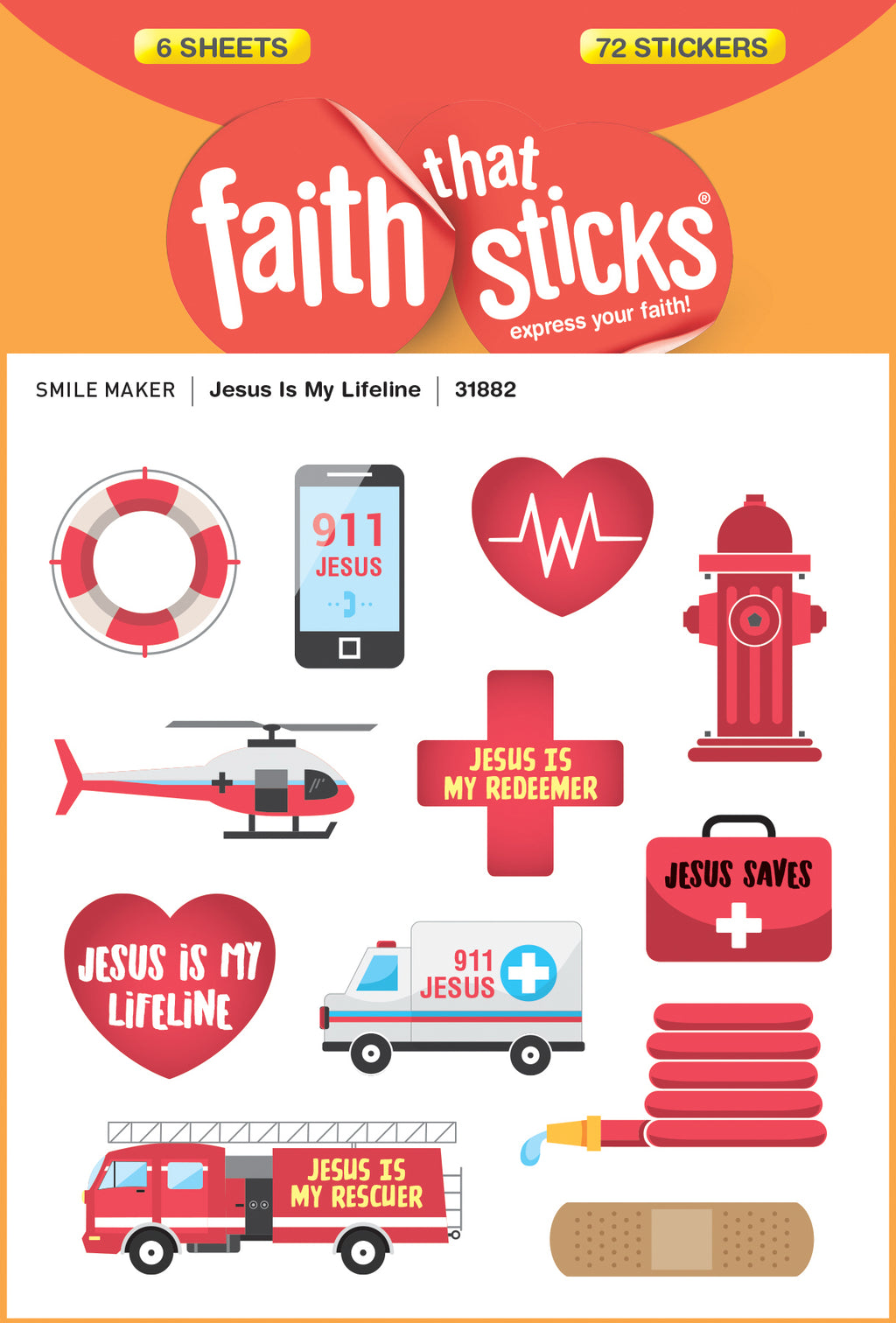 Sticker-Jesus Is My Lifeline (6 Sheets) (Faith That Sticks)