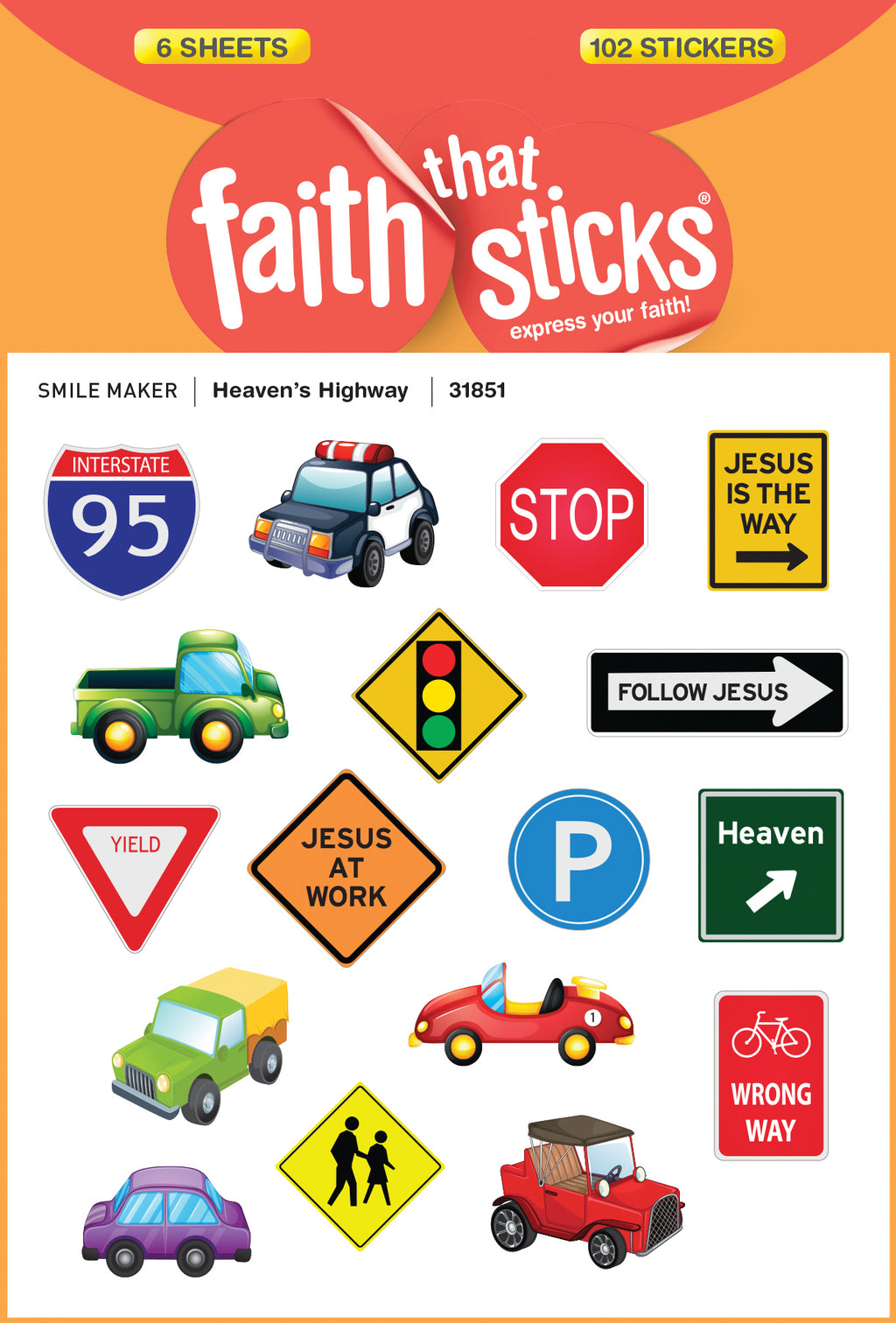 Sticker-Heaven's Highway (6 Sheets) (Faith That Sticks)