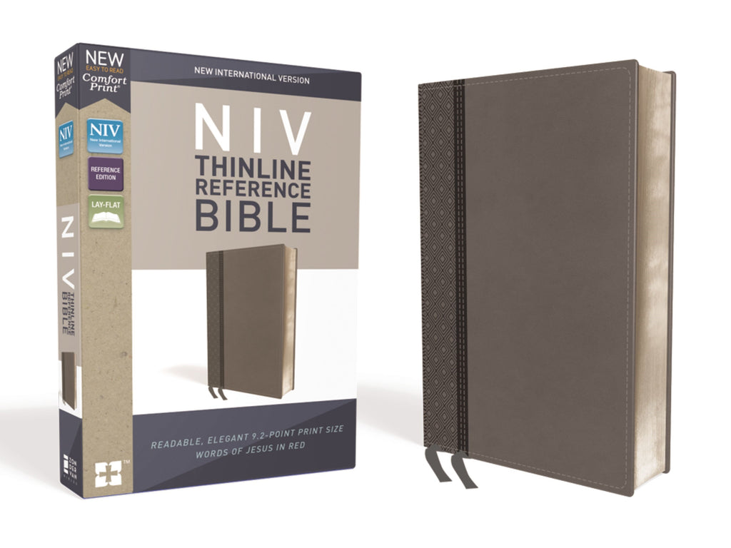NIV Thinline Reference Bible (Comfort Print)-Charcoal LeatherSoft