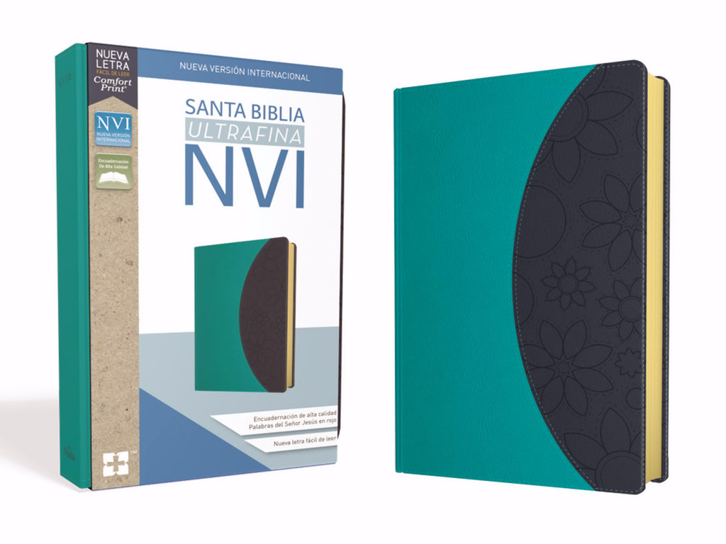 Span-NIV Ultrathin Bible (Comfort Print)-Teal-Gray Leathersoft
