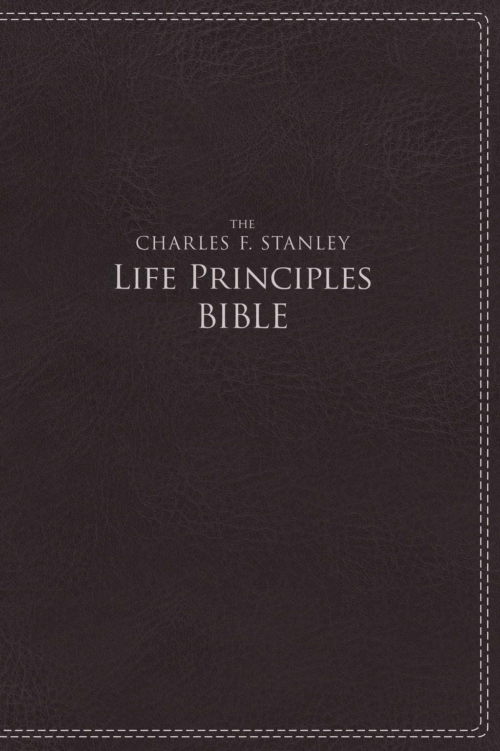 NIV Charles Stanley Life Principles Bible-Charcoal Leathersoft Indexed