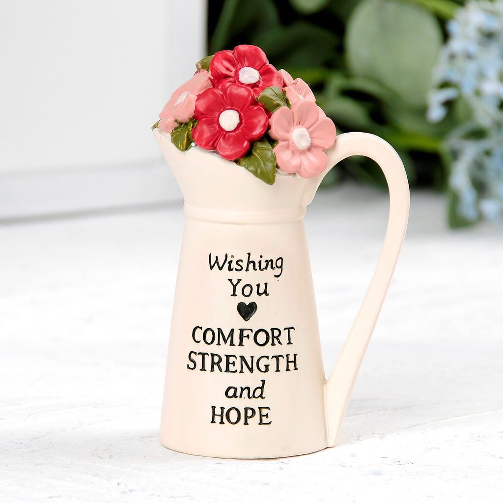 "Pitcher w-Flowers-Comfort Strength Hope (2.50"" x 3.50"")"