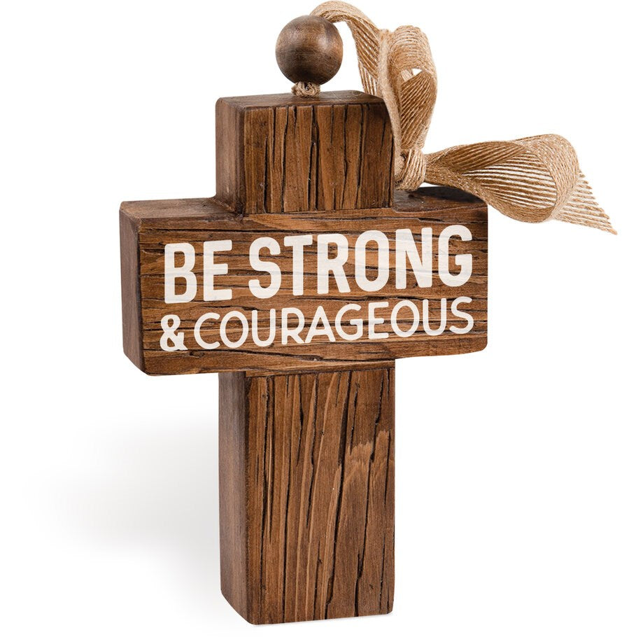 "Chunky Cross w-Burlap Hanging Bow-Be Strong & Courageous (4.75"" x 7"")"