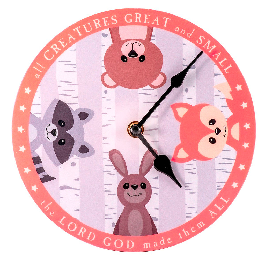 "Wall Clock-All Creatures Great And Small (8"" Diameter)"