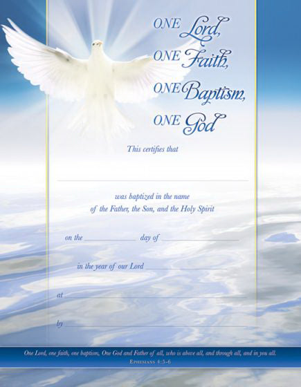 Certificate-Baptism (Ephesians 4: 5-6) (Full Color  Coated Stock) (Pack Of 6)