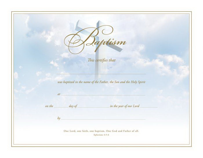 Certificate-Baptism-Cross (Ephesians 4: 5-6) (Gold Foil Embossed  Premium Stock) (Pack Of 6)