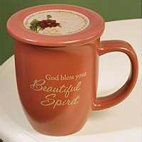 Mug-Grace Outpoured-God Bless Your-Spirit-Pink-Brown Interior w-Coaster-Lid