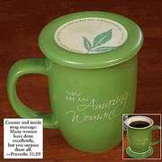 Mug-Grace Outpoured-Amazing Woman-Green-White Interior W-Coaster-Lid