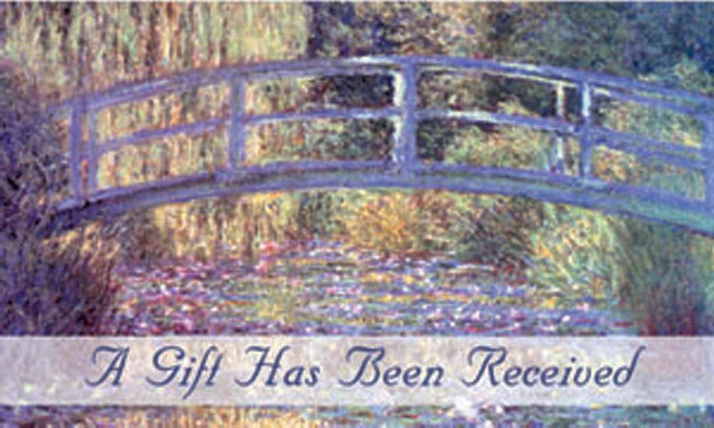 Gift Acknowledgement Card-A Gift Has Been Received (Pack Of 25)