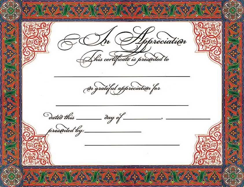 "Certificate-Appreciation (Colorful) (8-1-2"" x 11"") (Pack Of 6)"