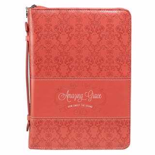 Bible Cover-Fashion-Amazing Grace-Medium-Coral