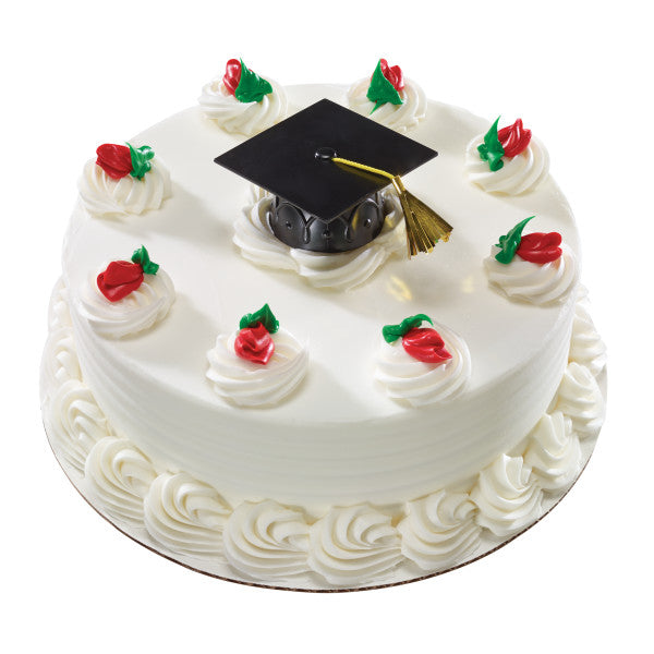 Graduation Cap Cake Topper Decoration with Tassel - Black
