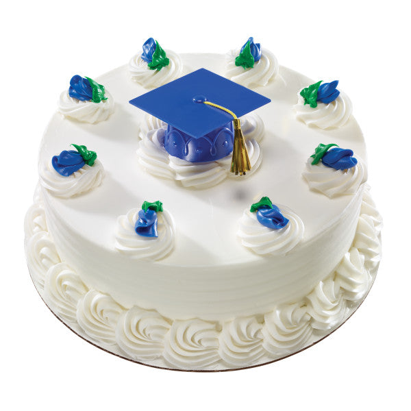 Graduation Cap Cake Topper Decoration with Tassel - Blue