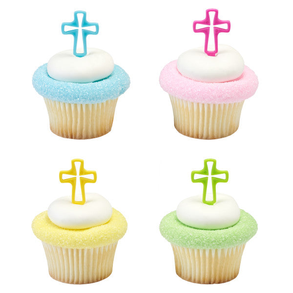 Easter Bright Cross Cake Topper Cupcake Pics