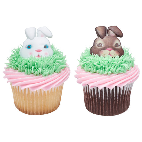 Easter Cute Bunny Faces Cupcake Rings