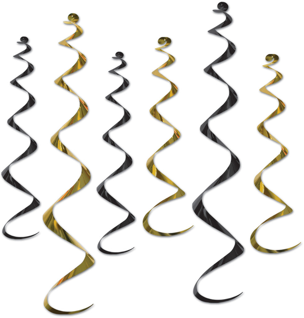 Twirly Whirlys - Assorted Black & Gold - CASE OF 12