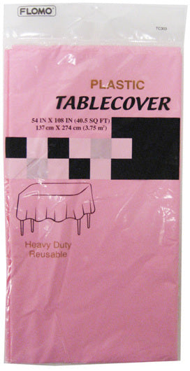"PASTEL PINK RECTANGULAR TABLE COVER Table Cover Size 54"" x 108"" - CASE OF 36"