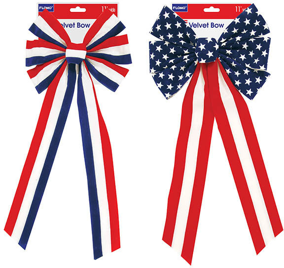 Velvet Patriotic Bows - CASE OF 36