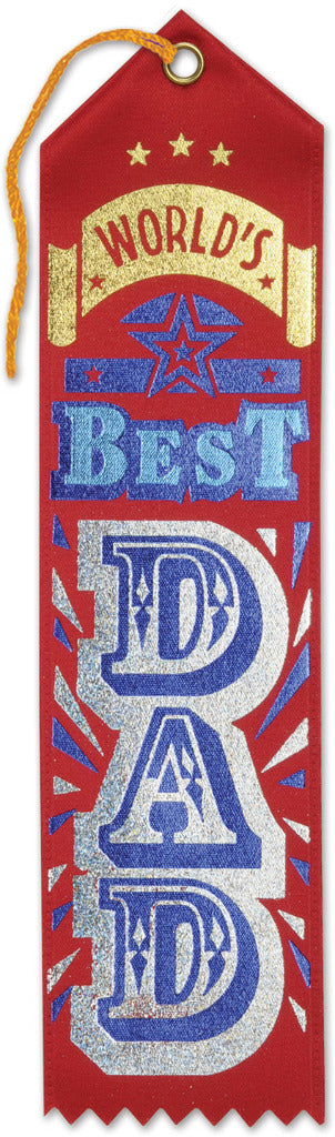 World'S Best Dad Award Ribbon - Red - CASE OF 36