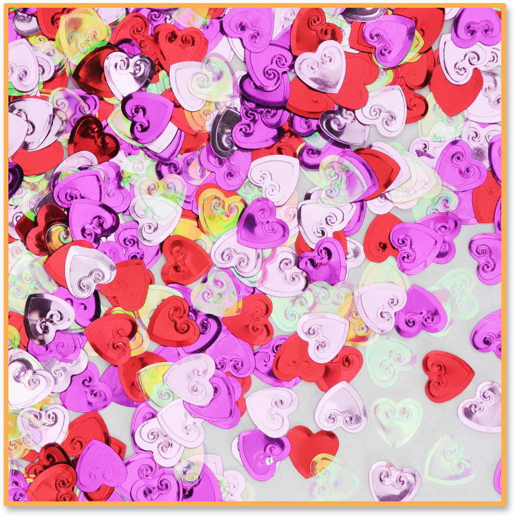 Embossed Hearts Confetti - CASE OF 24