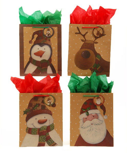 Kraft Printed Christmas Patchwork Gift Bags [Squar - CASE OF 120