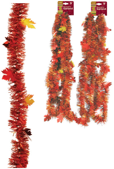 Thanksgiving Tinsel Garland with Maple Leaves - CASE OF 72