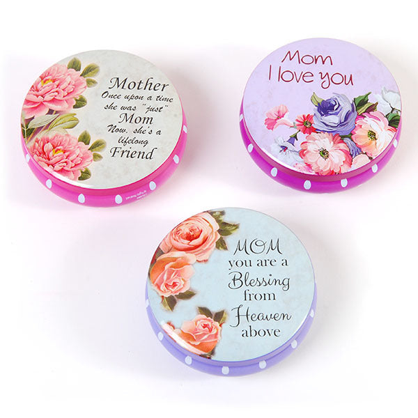 Round Tin Jewelry Boxes with Removable Lids for Mom on Mother's Day - CASE OF 48
