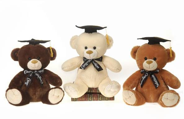 "12.5"" Graduation Bear Plush Toy - Assorted Colors - CASE OF 12"