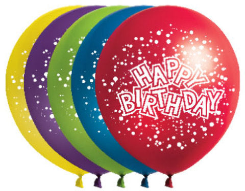 "12"" Birthday Confetti Balloons - 72 Count - Assorted - CASE OF 2"