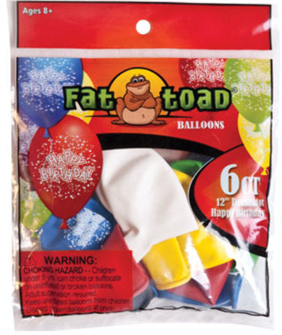 "12"" Birthday Confetti Balloons - 6 Count - Assorted - CASE OF 24"