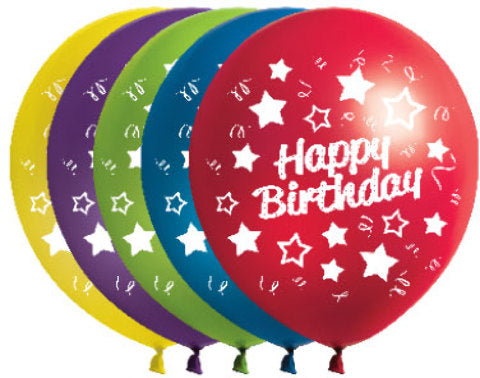 "12"" Birthday Stars Balloons - 72 Count - Assorted - CASE OF 2"