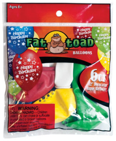 "12"" Birthday Stars Balloons - 6 Count - Assorted - CASE OF 24"