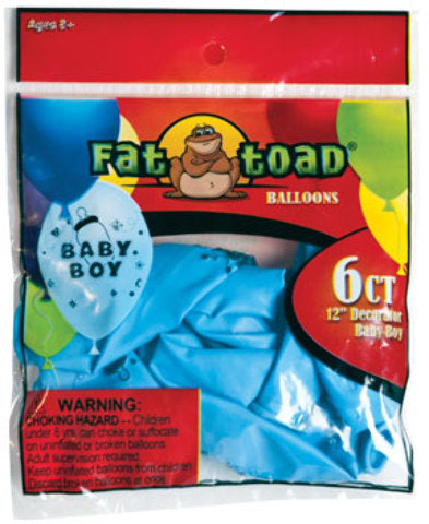 "12"" Fat Toad Baby Boy Print Balloons - - CASE OF 24"