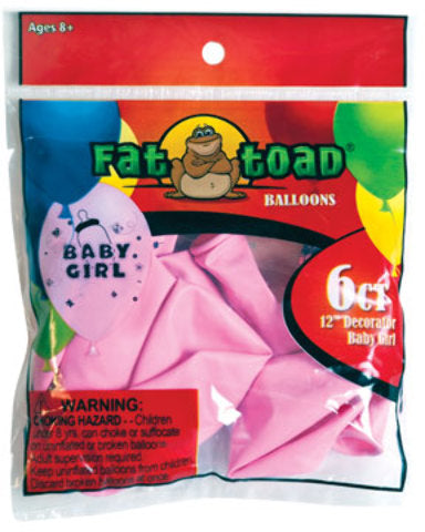 "12"" Fat Toad Baby Girl Print Balloons - - CASE OF 24"