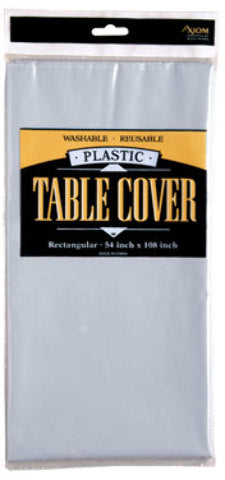 Rectangle Plastic Table Cover - Silver - CASE OF 24
