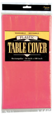 Rectangle Plastic Table Cover - Hot Pink - CASE OF 24