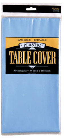 Rectangle Plastic Table Cover - Light Blue - CASE OF 24