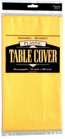 Rectangle Plastic Table Cover - Yellow - CASE OF 24